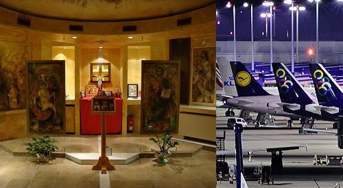 The chapel inside Athens International Airport, though officially nondenominational, puts a particularly tasteful spin on Orthodox modernism. Hopefully it provides much needed peace from the stress of travel.