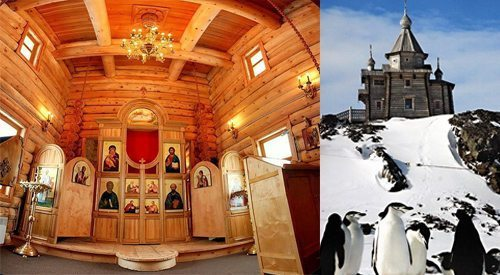 Built entirely of real Siberian Pine, this Holy Trinity Chapel was reassembled half a world away from its original construction to serve Russian researchers in Antarctica.