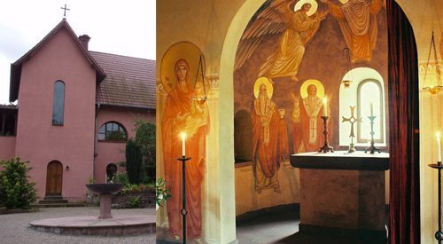 Holy Trinity Monastery in Bodenwerder, Germany has some striking iconography in a really intimate space.