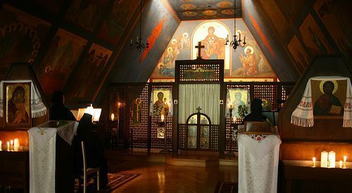 This monastery chapel achieves the intended effect of making the faithful feel like they're surrounded by the presence of God.