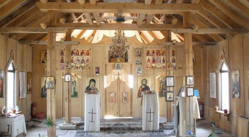 This chapel was built on the NATO base in Kandahar, Afghanistan based on designs of wooden Romanian Churches from Transylvania. It has served as the home parish for countless soldiers deployed to Afghanistan.