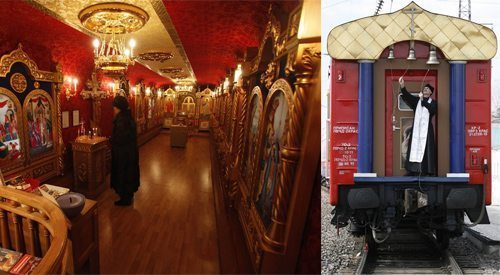 This chapel is housed in the last car of a fully-equipped hospital train which makes monthly trips on the Trans-Siberian railway to serve communities with little access to either health or pastoral care.