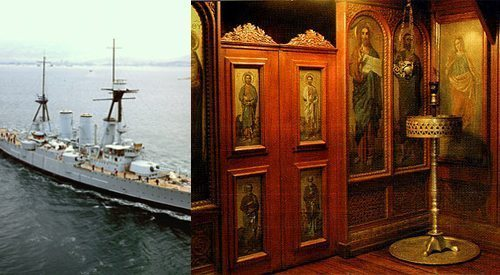 Dedicated to the intercessor of sailors, this chapel sits inside of the Greek Navy's flagship.