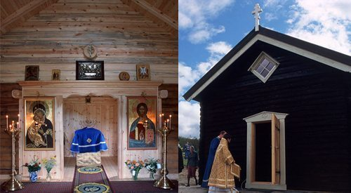 The chapel was built in 2003 at Steinhaugen farm in the hills of Central Norway following traditional Norwegian farm building architecture.