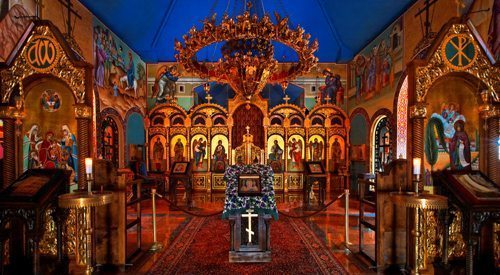 Part of a monastery complex in suburban Detroit, this chapel welcomes visitors from the imperial-Russian-inspired restaurant next door.