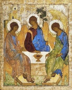 In Rublev's Trinity, the angels in the middle and on the right, representing the Son and the Spirit respectively, look to the angel on the left, representing the Father, as an affirmation that the Father is their source. CC Image from Wikimedia