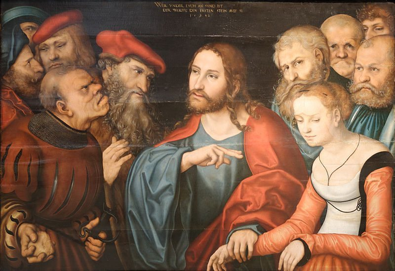 Christ and the Adulteress by Lucas Cranach the Elder. Image from Wikimedia