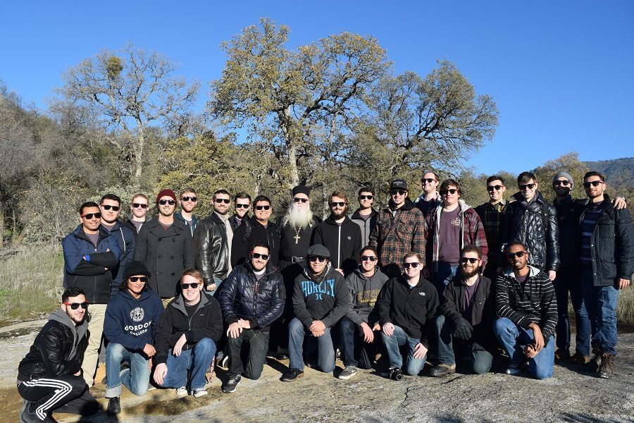 The new members of the Salish Brotherhood of St. John the Wonderworker with Abbot Tryphon